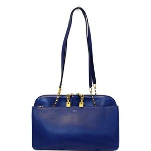 CHLOE LUCY MEDIUM LEATHER SHOULDER BAG BLUE
